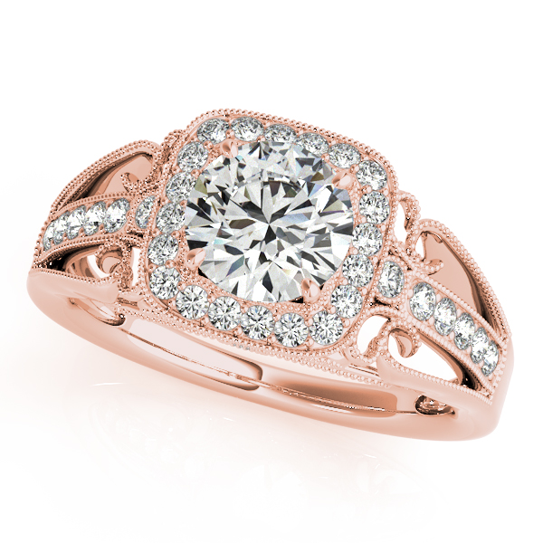 Square Diamond Halo Engagement Ring with Filigree in Rose Gold
