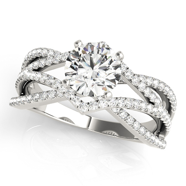 Four Row Diamond Intertwined Split Band Engagement Ring