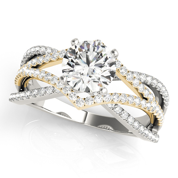 Diamond Intertwined Split Band Engagement Ring in Yellow Gold