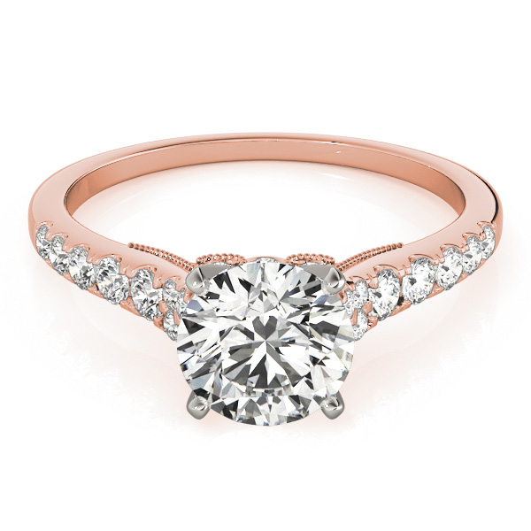 Cathedral Petite Diamond Engagement Ring with Surprise Diamonds in Rose Gold