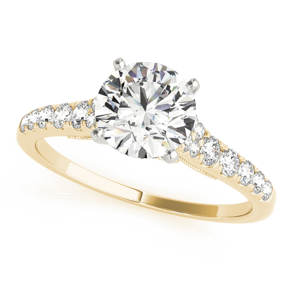 Cathedral Petite Diamond Engagement Ring with Surprise Diamonds in Yellow Gold