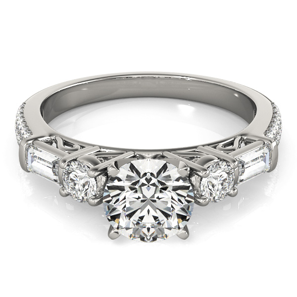 Five Stone Round & Baguette Cut Diamond Engagement Ring with Etoil Band