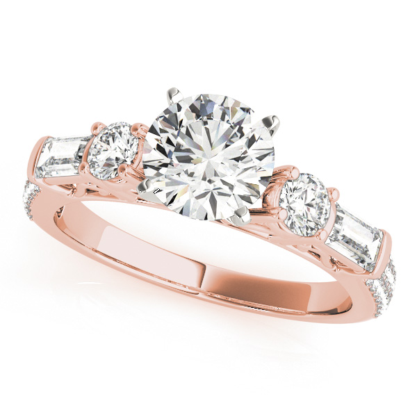 Five Stone Round & Baguette Cut Diamond Engagement Ring with Etoil Band in Rose Gold