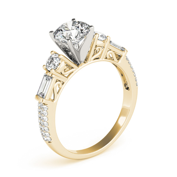 Five Stone Round & Baguette Cut Diamond Engagement Ring with Etoil Band in Yellow Gold