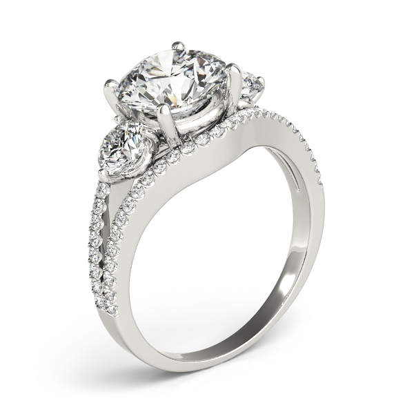 Large Three Stone Diamond Engagement Ring with Split Band