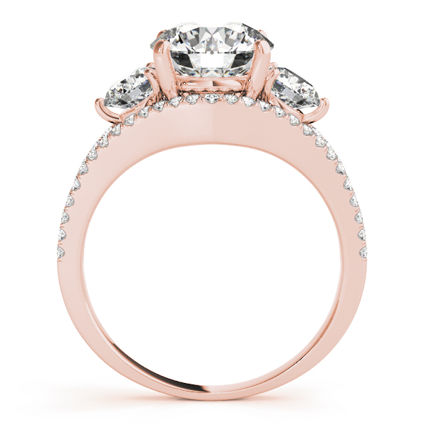 Large Three Stone Diamond Engagement Ring with Split Band in Rose Gold