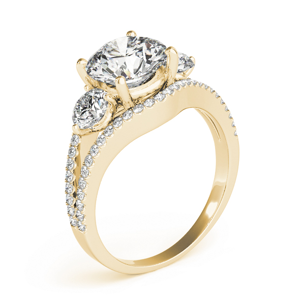 Large Three Stone Diamond Engagement Ring with Split Band in Yellow Gold