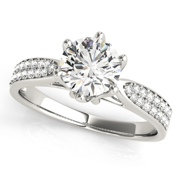 Cathedral Floral Crown Diamond Engagement Ring with Double Row Band