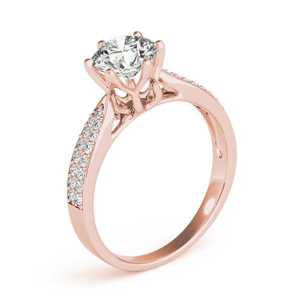 Cathedral Floral Crown Diamond Engagement Ring with Double Row Band in Rose Gold