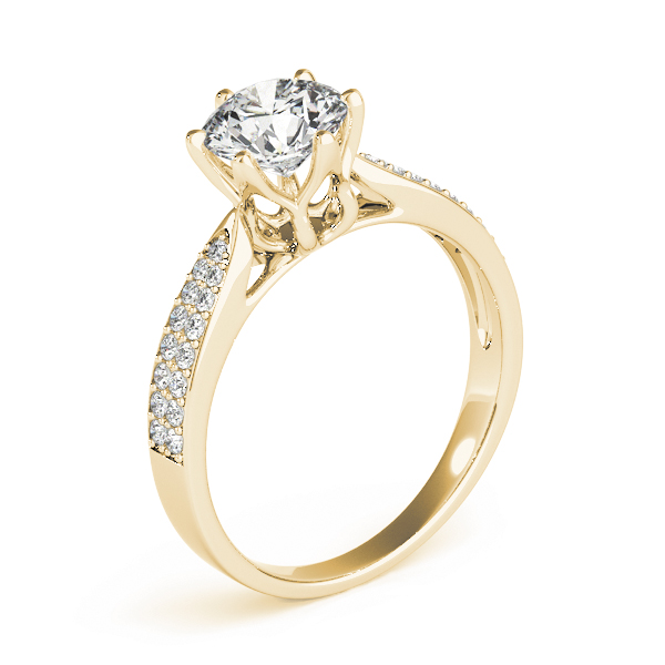 Cathedral Floral Crown Diamond Engagement Ring with Double Row Band in Yellow Gold