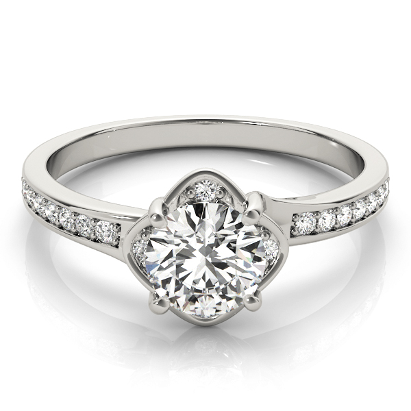 Swirl Floral Halo Petite Engagement Ring