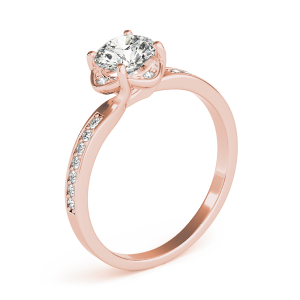 Swirl Floral Halo Petite Engagement Ring in Rose Gold