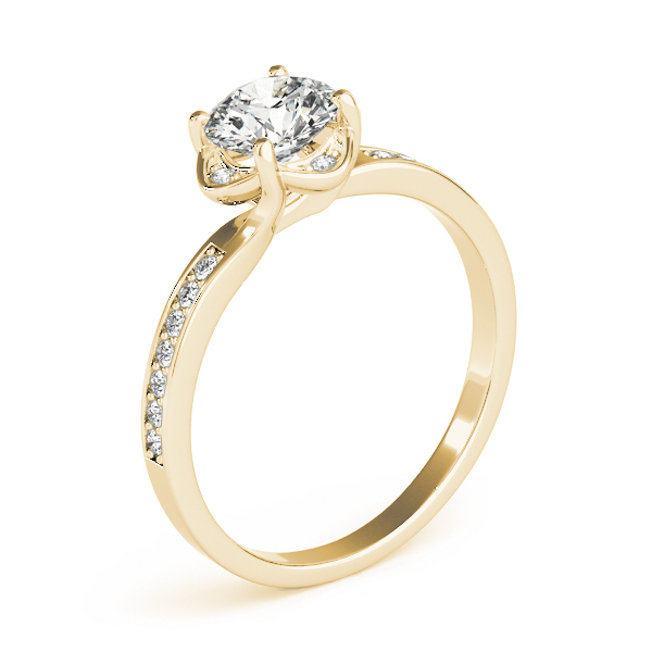Swirl Floral Halo Petite Engagement Ring in Yellow Gold