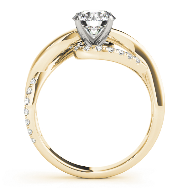 Double Band Intertwined Diamond Engagement Ring in Yellow Gold