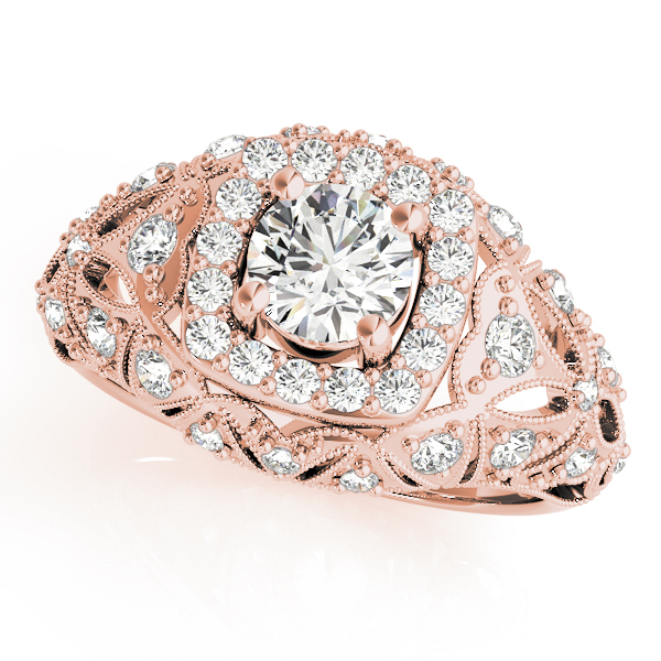 Vintage Halo Diamond Dome Engagement Ring in Rose Gold