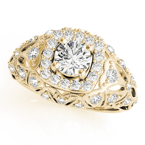 Vintage Halo Diamond Dome Engagement Ring in Yellow Gold