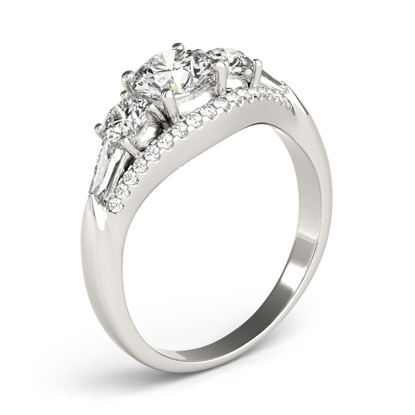 Five Stone Round and Baguette Cut Diamonds Engagement Ring