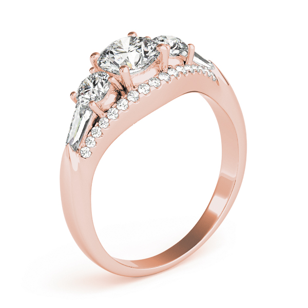 Five Stone Round and Baguette Cut Diamonds Engagement Ring in Rose Gold