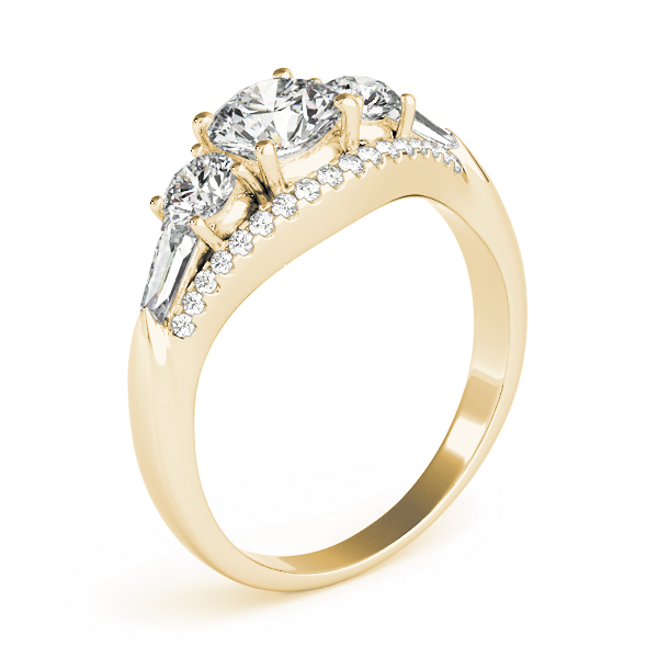Five Stone Round and Baguette Cut Diamonds Engagement Ring in Yellow Gold