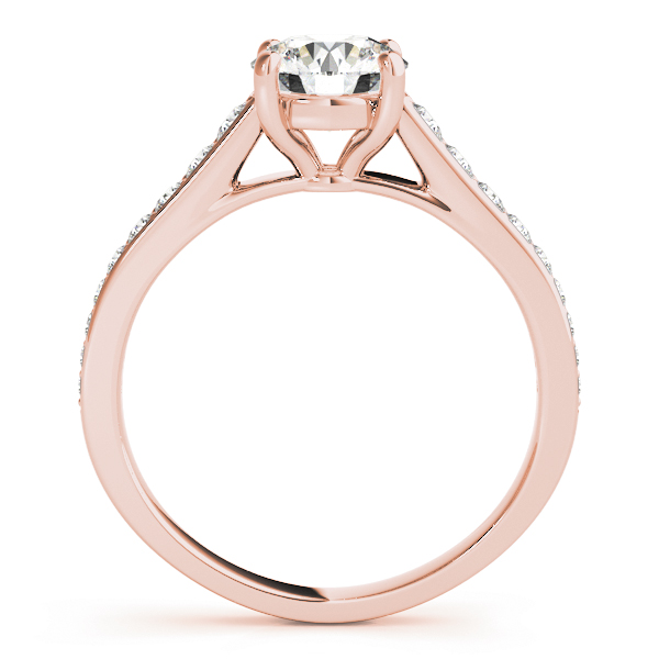 Cathedral Diamond Journey Engagement Ring in Rose Gold