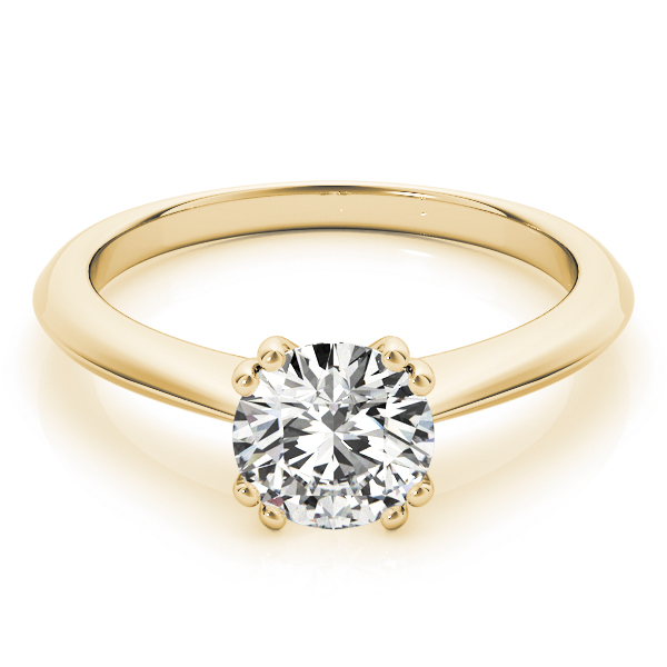 Solitaire Petite Knife Edge Engagement Ring in Yellow Gold