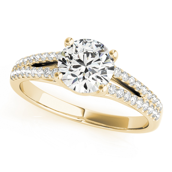 Trellis Diamond Engagement Ring with Split Band in Yellow Gold
