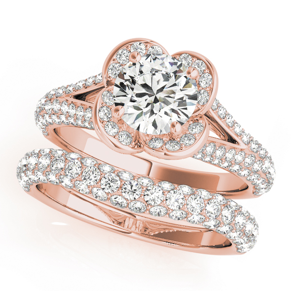 Rose Diamond Halo Engagement Ring with Split Etoil Band in Rose Gold