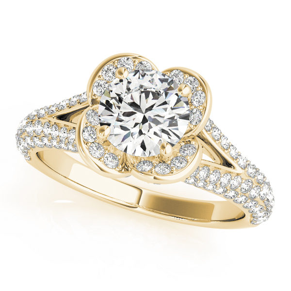 Rose Diamond Halo Engagement Ring with Split Etoil Band in Yellow Gold