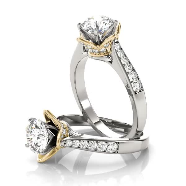 Cathedral Lotus Diamond Engagement Ring with Crown Yellow Gold