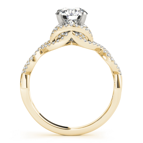 Intertwined Infinity Halo Diamond Engagement Ring in Yellow Gold
