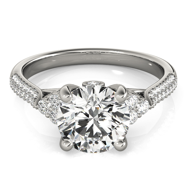 Diamond Cluster Engagement Ring with Etoil Band