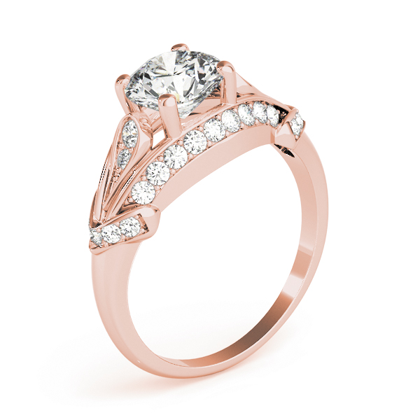 Vintage Dome Diamond Engagement Ring in Rose Gold