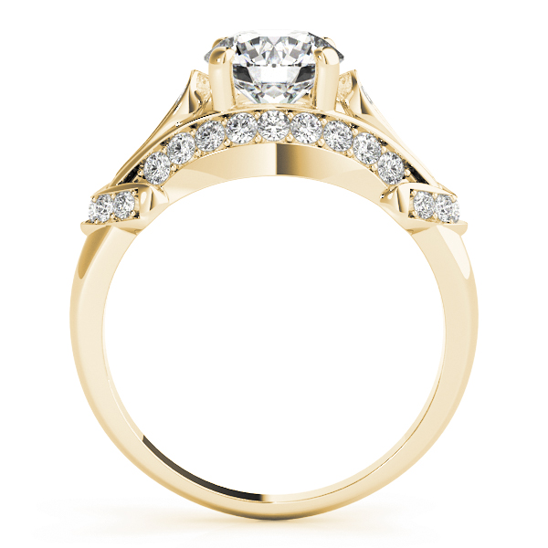 Vintage Dome Diamond Engagement Ring in Yellow Gold
