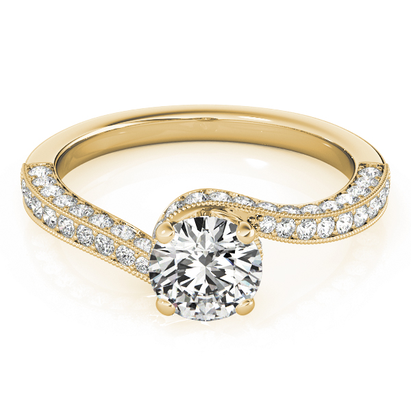 Diamond Swirl Vintage Engagement Ring in Yellow Gold