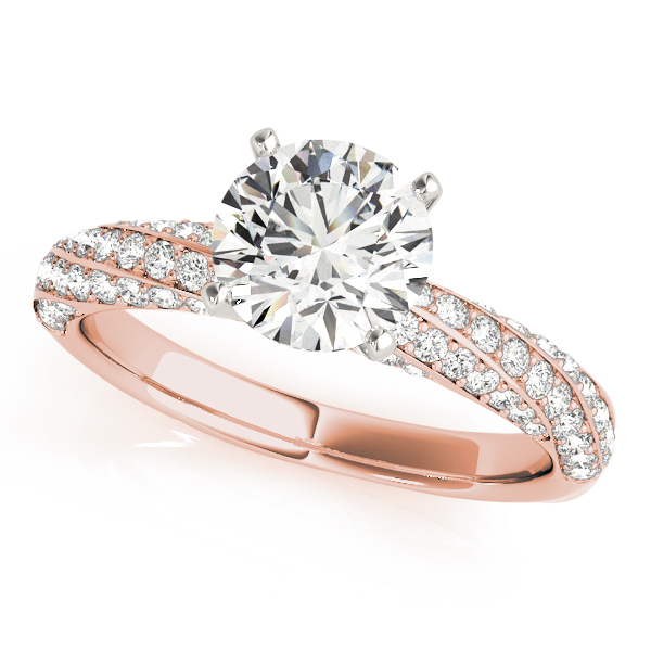 Swirl Multi Row Diamond Engagement Ring & Wedding Band in Rose Gold