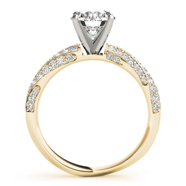 Swirl Multi Row Diamond Engagement Ring in Yellow Gold