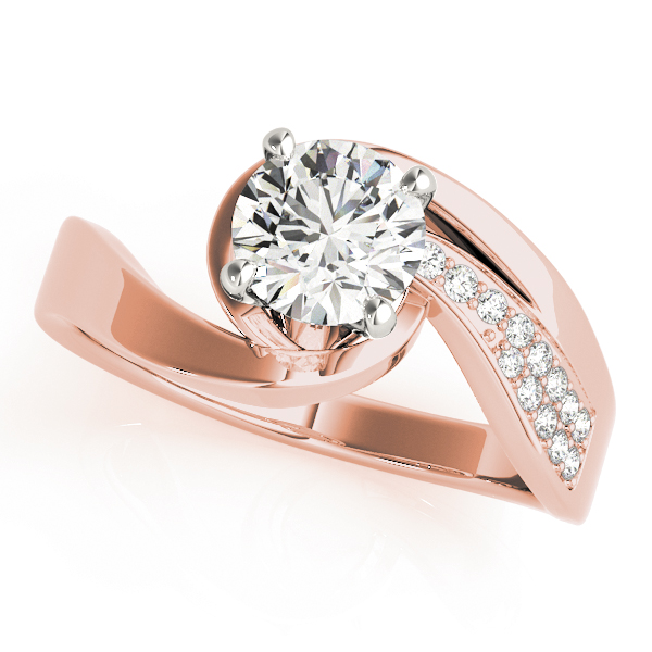 Swirl  Diamond Engagement Ring & Wedding Band with Accents in Rose Gold