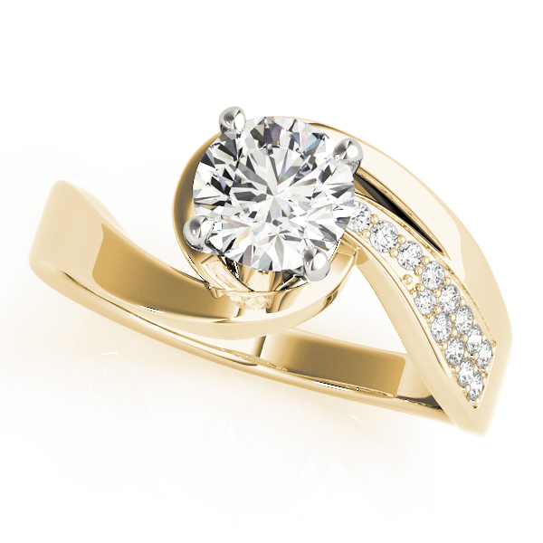 Swirl  Diamond Engagement Ring with Accents in Yellow Gold