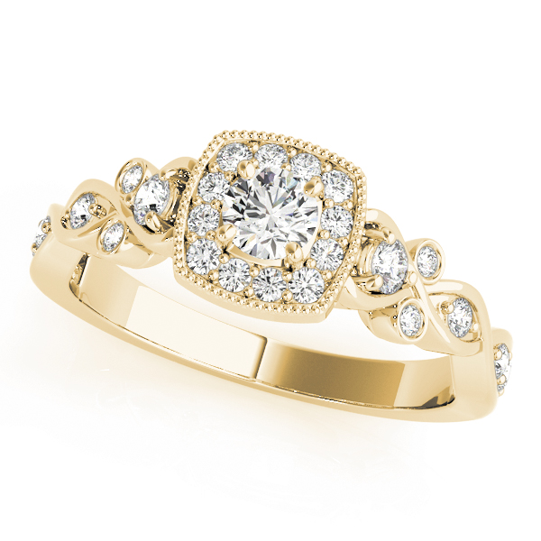 Square Halo Intertwined Infinity  Diamond Engagement Ring in Yellow Gold