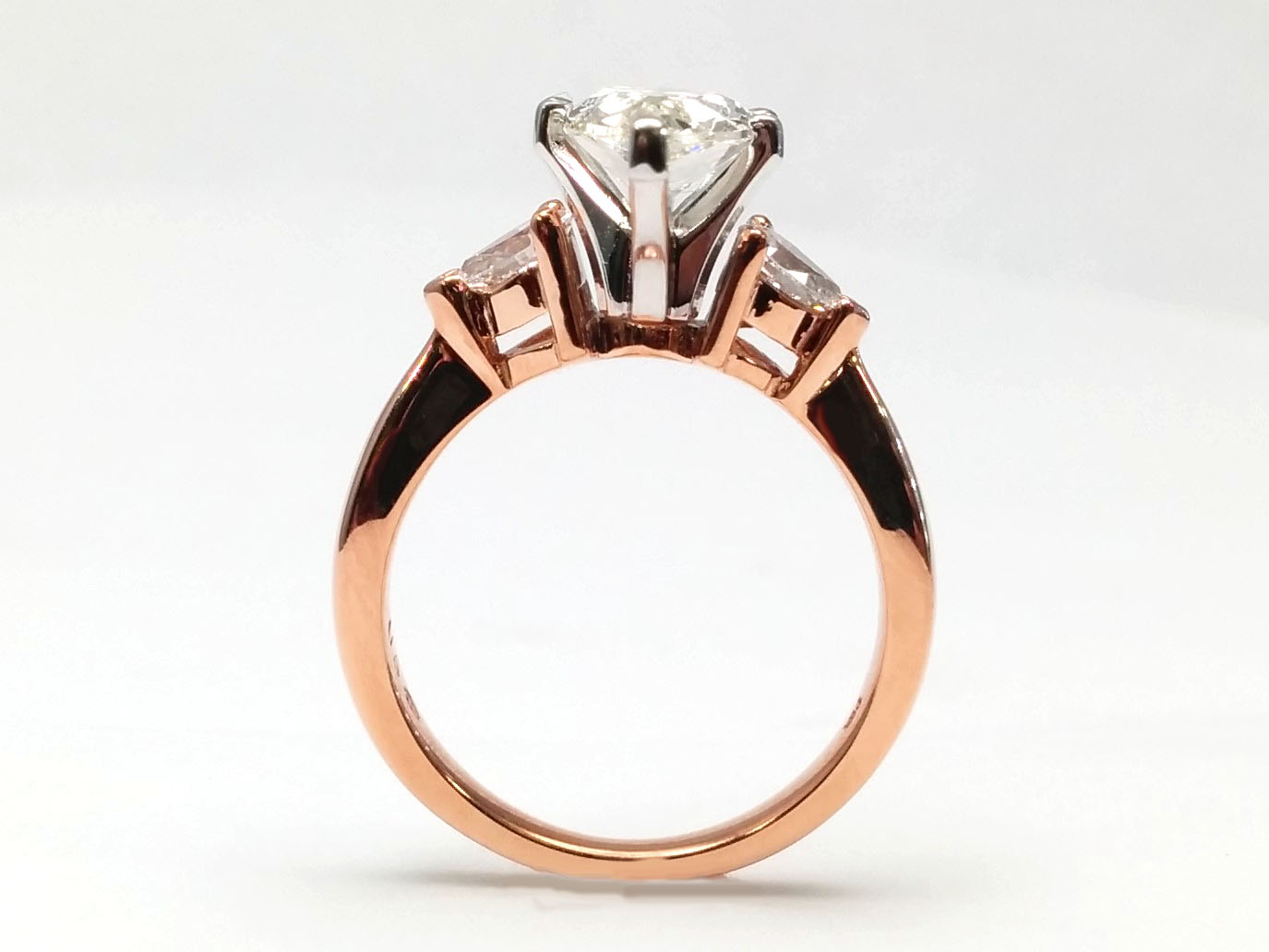 Diamond Engagement Ring Pear-Shape side stone 0.30 tcw. 14K Rose Gold