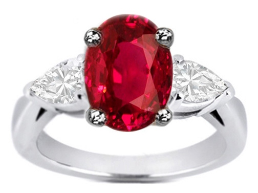 Oval Ruby & Pear-Shape Diamond Engagement Ring Like Jessica Simpson 0.30 tcw. In 14K White Gold