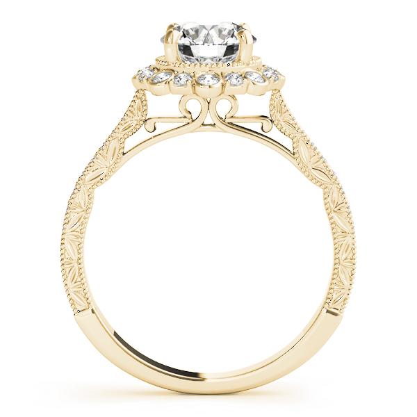 Engraved Vintage Diamond Halo Engagement Ring Bezel - Prong Set in Yellow Gold
