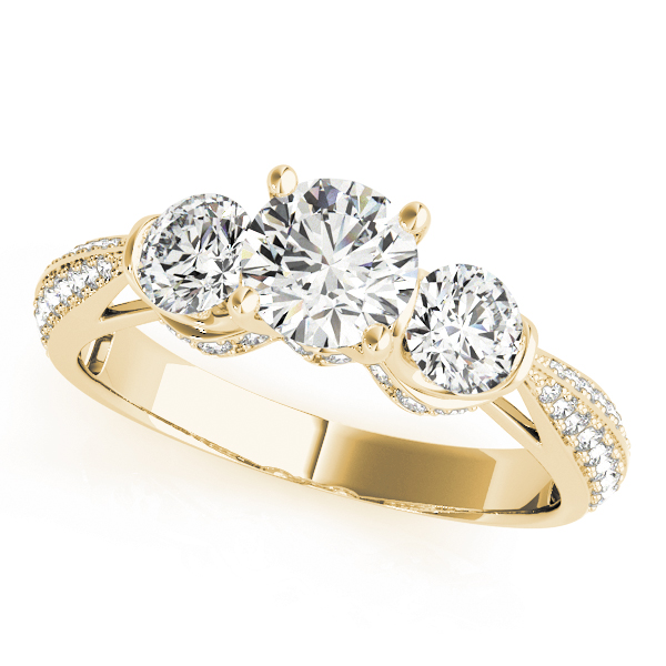 Three Stone Knife Edge Diamond Engagement Ring in Yellow Gold