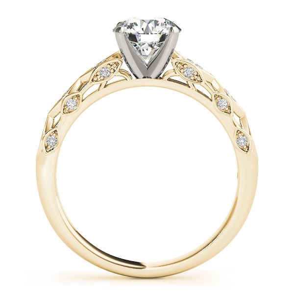 Vintage Swing Diamond Cathedral Engagement Ring in Yellow Gold