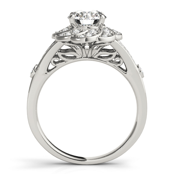 Floral Diamond Engagement Ring with Split Band & Filigree