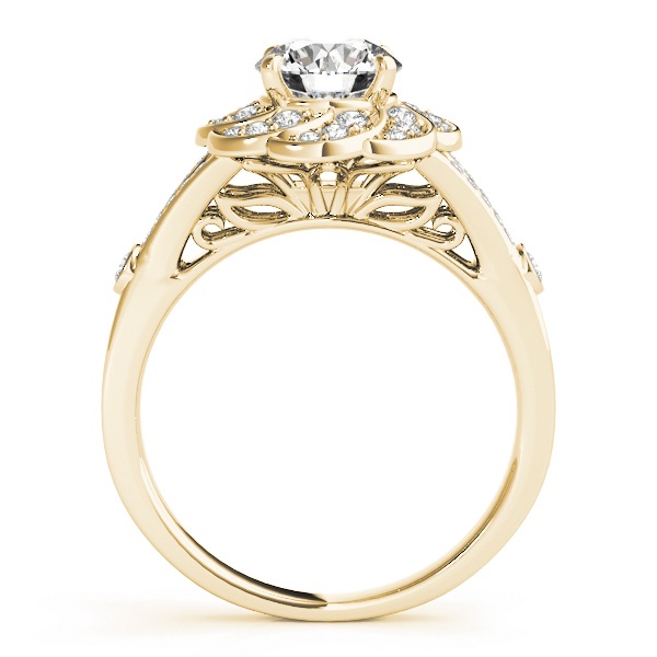 Floral Diamond Engagement Ring with Split Band & Filigree in Yellow Gold