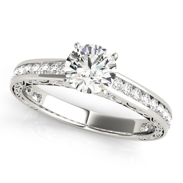 Engraved Diamond Channel Set Engagement Ring