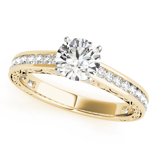 Engraved Diamond Channel Set Engagement Ring in Yellow Gold