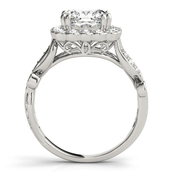 Square Floral Vine Diamond Halo Engagement Ring