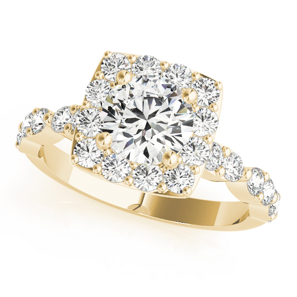Crown Petite Diamond Halo Engagement Ring in Yellow Gold